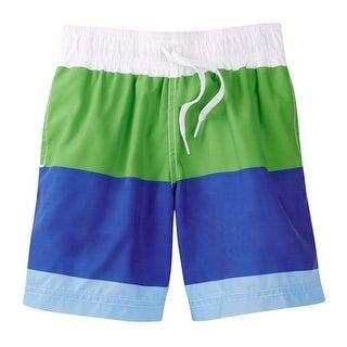 Azul Little Boys Green Blue White Color Block Drawstring Swim Shorts