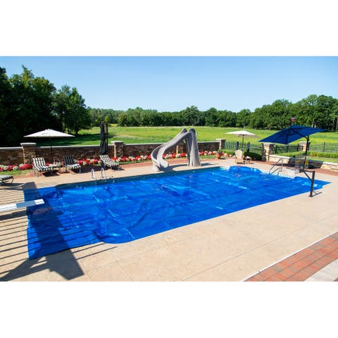 14-mil Solar Blanket for Rectangular In-Ground Pools - Silver Blue Cover