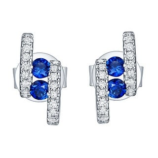 Prism Jewel 0.33Ct SI2 Blue Sapphire with I1 Natural Diamond Pushback Earring