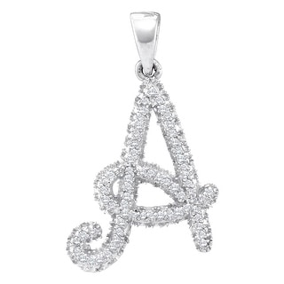"Initial ""A"" Pendant 10k White Gold With Diamonds 1/6Ctw By MidwestJewellery"