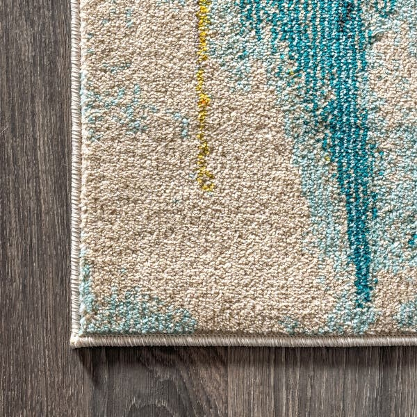 Contemporary Pop Modern Abstract Waterfall Blue Cream Area Rug Overstock 27416401