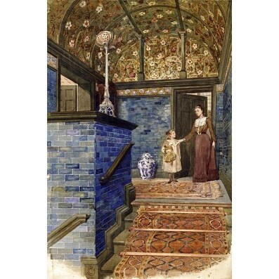 Staircase Hall With William De Morgan Tiles by T  Hamilton Crawford  Architecture Art Print