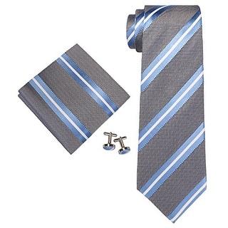 Men's Light Blue & White Stripes 100% Silk Neck Tie Set Cufflinks & Hanky 18A45 - regular