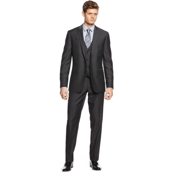 Bar III Slim Fitting Charcoal Herringbone 2 pc Suit 44 Long 44L Pants 37W