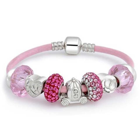 Forever Love Heart Valentine Pink Crystal Bead Charm Bracelet Genuine Leather Sterling Silver For Women Barrel Clasp