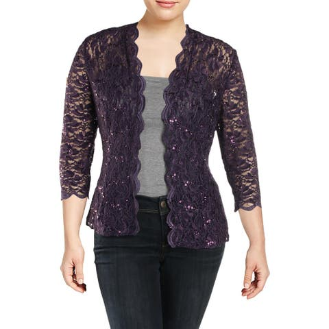 Alex Evenings Womens Bolero Lace Sequined