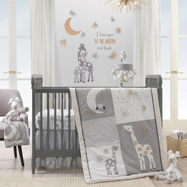 Lambs Ivy Gray Signature Moonbeams 3 Piece Crib Bedding Set