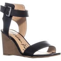 AR35 Aislinn Ankle Strap Wedge Sandals, Black