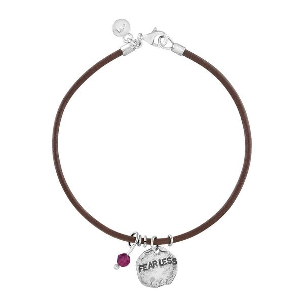 'Fearless' Leather Charm Bracelet with Garnet in Sterling Silver