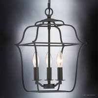 "Luxury Colonial Chandelier, 14.75""H x 10""W, with Minimalist Style, Bird Cage Design, Vintage Black Finish"