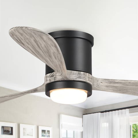 """Transitional 52"""" Low Profile Wood 3-Blade LED Ceiling Fan with Remote"""