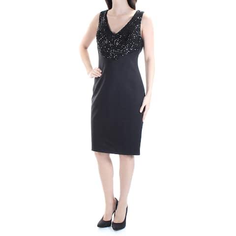 RALPH LAUREN Womens Black Sequined Sleeveless V Neck Above The Knee Empire Waist Formal Dress Size: 6