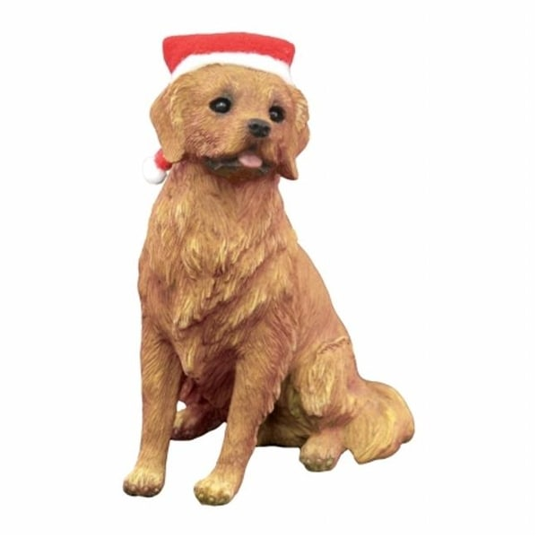 golden retriever with red and white scarf christmas ornament