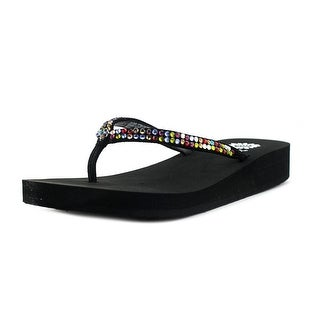 Yellow Box Jello Women Open Toe Leather Black Thong Sandal