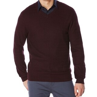 Perry Ellis NEW Port Red Mens Size Small S V-Neck Textured Knit Sweater