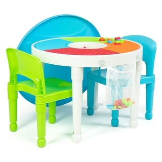 Humble Crew 2-in-1 Round Activity Table & 2 Chair Set w/ 100 Blocks - Toddler/Pre-school