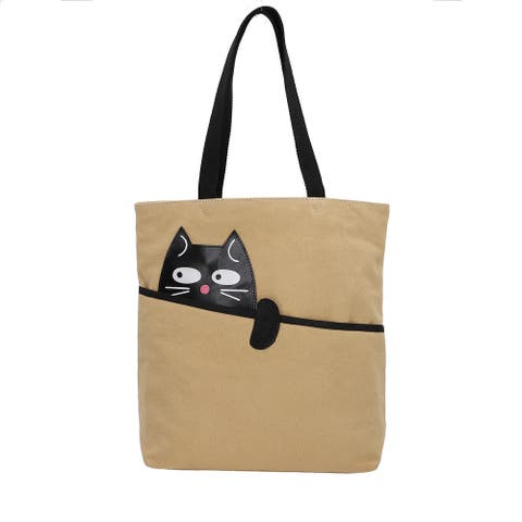 Cream Cat Pattern Trim Canvas Tote Bag Women Trendy Fashion Handbag - 14x14.15x3.90 inches