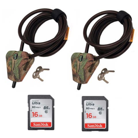 Master Lock Python 6-Ft Cable Lock (2-Pack) and 16GB SD Cards