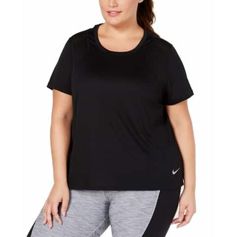 Nike Black Women's Size 3X Plus Dri-Fit Lightweight Logo Print Top 784
