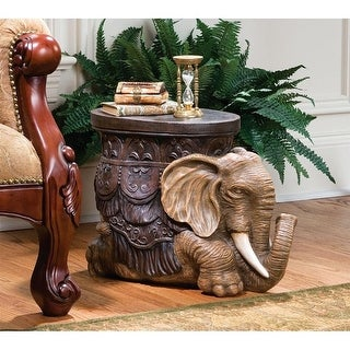Design Toscano The Sultans Elephant Sculptural Side Table - 20.5 x 9.5 x 15.5