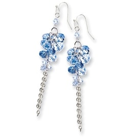 Silvertone Blue Crystal Bead Linear Drop Earrings