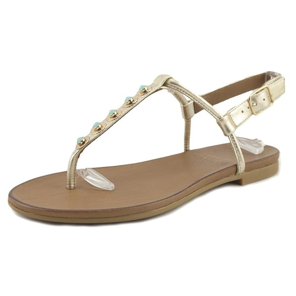 Vince Camuto Nora Women Open-Toe Leather Gold Slingback Sandal