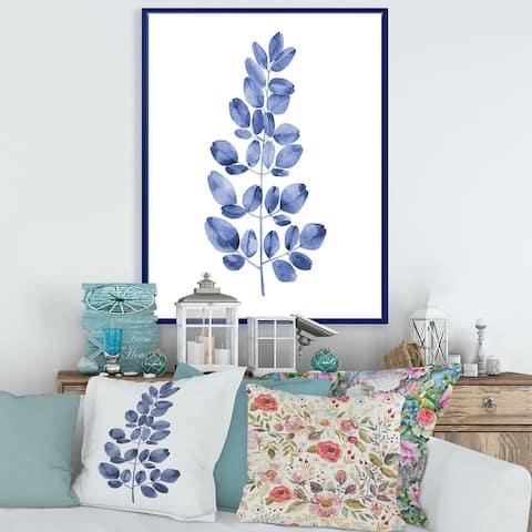 Designart 'Navy Blue Eucalyptus II' Traditional Framed Canvas Wall Art Print