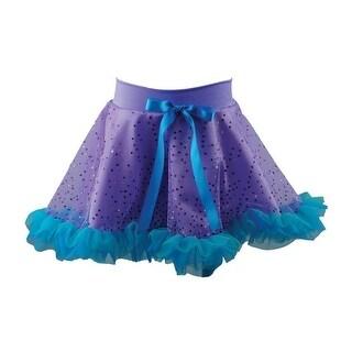 Reflectionz Baby Girls Purple Aqua Glitter Bow Ruffled Mermaid Skirt