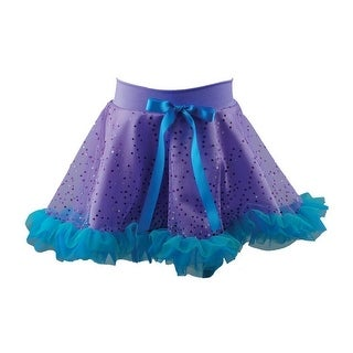 Reflectionz Little Girls Purple Aqua Glitter Bow Ruffled Mermaid Skirt