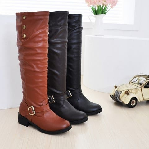 New Sexy Knee-High Boots Fashion Warm Flock Inside Winter Snow Boots Elegant Buckle Women Boots Flats Ladies Shoes Women
