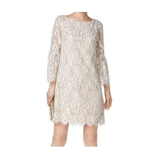 Jessica Howard White Ivory Womens Size 8 Floral Lace Shift Dress