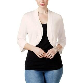 Jessica Howard Womens Plus Cardigan Top Knit Solid