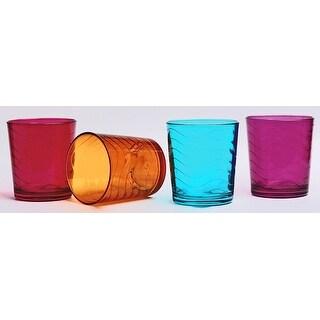 Palais Glassware 'Vague' Collection,, Multicolored Wave Glasses (Set of 4 13 Oz DOF's)