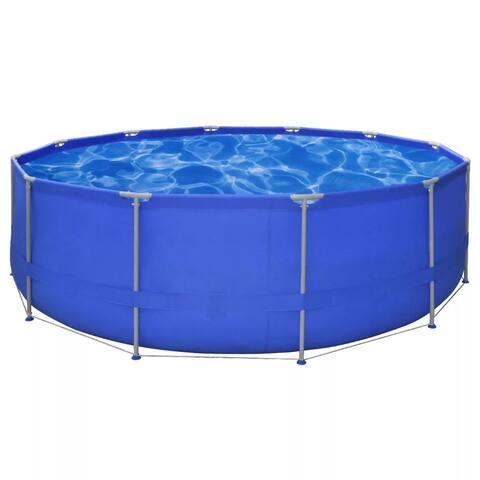 vidaXL Above-ground Swimming Pool Steel Frame Round 15'x4' Outdoor Garden - 15' x 4'