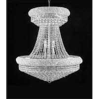 "Swarovski Crystal Trimmed Chandelier! 36"" Large Lead Crystal Chrome Chandelier - Clear"
