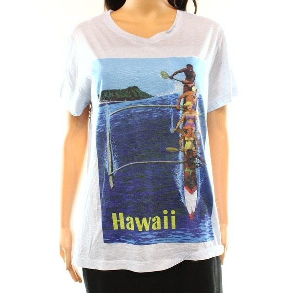 8cfff613d5 Go Couture NEW Blue Women's Size Medium M Graphic Tee Hawaii Print T-Shirt