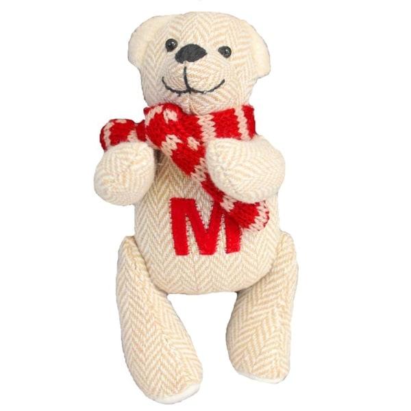 "6.25"" Tan Herringbone Plush Teddy Bear ""M"" Embroidered Christmas Figure Ornament"