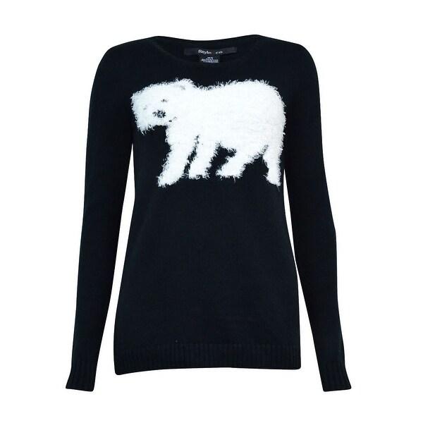 Style & Co. Women's Fluffy Polar Bear Pull On Sweater - Black/White