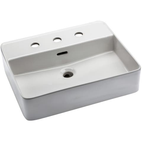 """Mirabelle MIRV308 Hibiscus 19-11/16"""" Vessel Style Bathroom Sink with 3 Holes - White"""