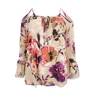 INC International Concepts Women's Floral Cold-Shoulder Top - Spring Breeze