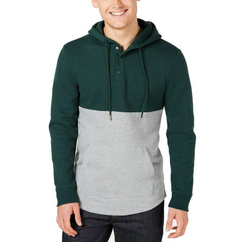 American Rag Mens Sweater Green Size Large L Colorblock Pocket Hooded