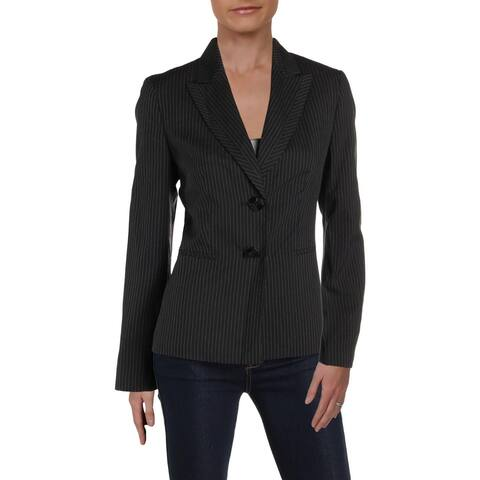 Le Suit Womens Two-Button Blazer Pinstriped Office