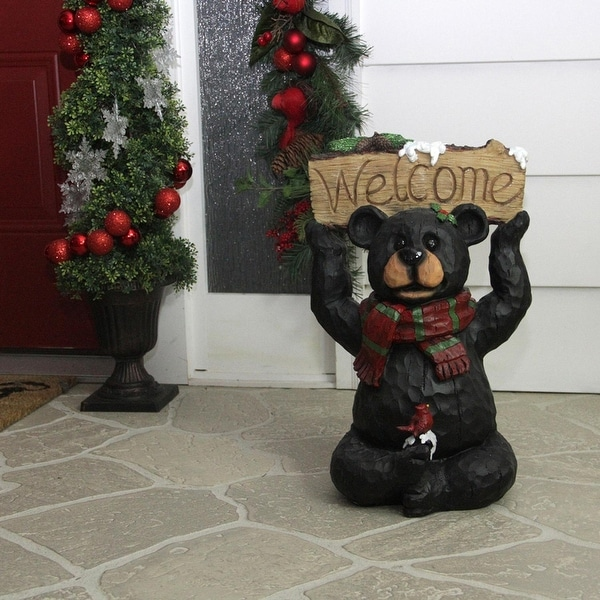 """18"""" Woodland Black Bear with Striped Scarf and """"Welcome"""" Sign Christmas Decoration"""