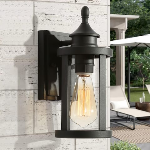 """Traditional Black 1-Light Outdoor Wall Sconce Patio Lamp - L5""""xW6.5""""xH12"""""""