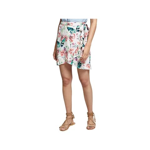 Sanctuary Womens Wrap Skirt Floral Print Ruffled