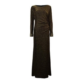 Patra Women's Beaded Trim Long Sleeve Metallic Dress - Black/gold