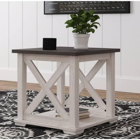Dorrinson White/Brown Casual Square End Table