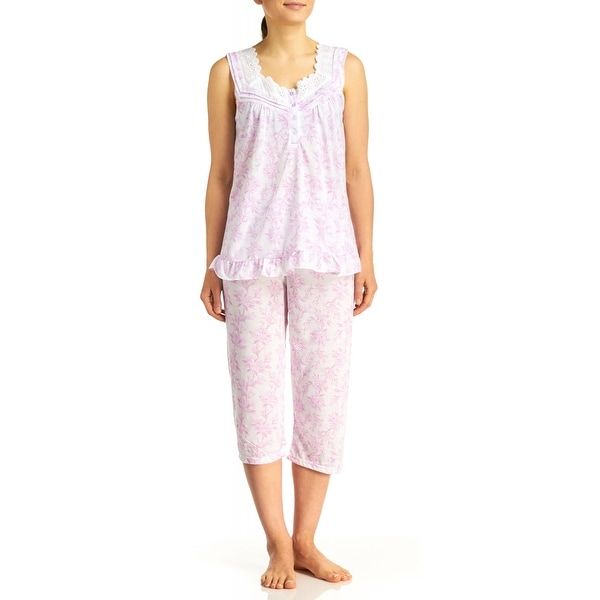 6123e402462 Shop Body Touch Women s Pink Sleeveless Eyelet Print Capri Pajama Set - Plus  Size - Free Shipping On Orders Over  45 - Overstock - 16795714