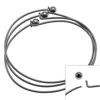 Gun Metal Plated Wire Beading Bracelet With Ball - Add A Bead (3 Bracelets)