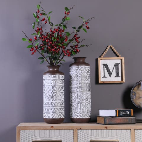 Two Piece Brown and White Metal Vases